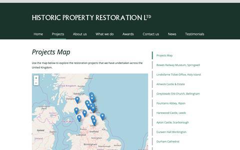 Screenshot of Maps & Directions Page hprltd.co.uk - Projects Map | Historic Property Restoration Ltd - captured Sept. 29, 2018