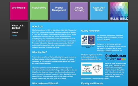 Screenshot of About Page ellisbelk.com - About Ellis Belk - Chartered Building Surveyors, members of the Royal Institution of Chartered Surveyors - captured Oct. 2, 2014