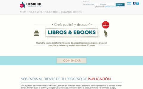Screenshot of Home Page hesiodo.com - HESIODO - Publicar es simple | Autopublicación de ebooks y libros por demanda - captured Aug. 11, 2015