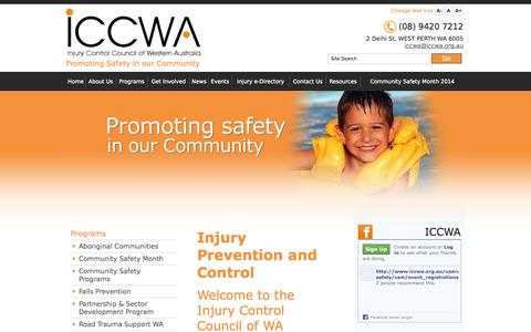 Screenshot of Home Page iccwa.org.au - Injury Prevention, Fall Prevention, Injury Control | ICCWA - captured Oct. 6, 2014