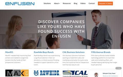 Screenshot of Case Studies Page enfusen.com - Case Studies - Enfusen - captured Nov. 7, 2016