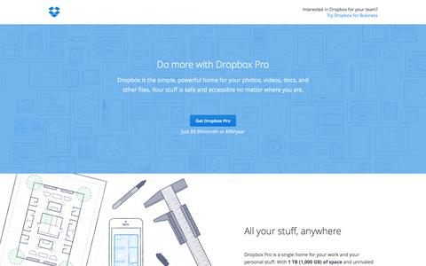 Screenshot of Pricing Page dropbox.com - Dropbox - Upgrade to Dropbox Pro - captured July 3, 2015