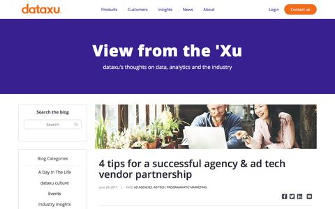Screenshot of Blog dataxu.com - 4 Tips For A Successful Agency & Ad Tech Vendor Partnership - captured Nov. 18, 2019