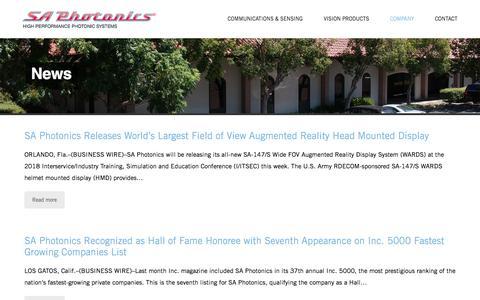Screenshot of Press Page saphotonics.com - News – SA Photonics - captured July 12, 2019