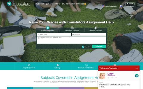 Screenshot of Home Page transtutors.com - Assignment Help   Homework Help   Assignment Expert Online - Transtutors - captured Oct. 2, 2018