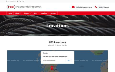 Screenshot of Locations Page ropeandsling.co.uk - Locations - Rope and Sling - captured Nov. 16, 2018