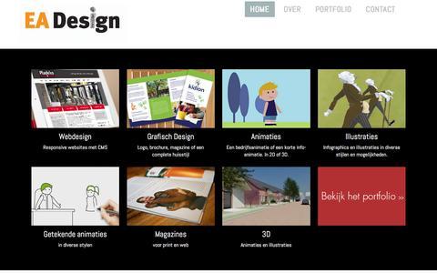 Screenshot of Home Page ea-design.nl - EA- Design Web, print en animaties - captured March 3, 2016