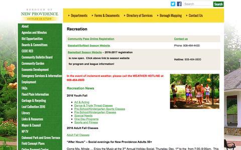 Screenshot of Press Page newprov.org - Recreation  –  New Providence - captured Nov. 23, 2016