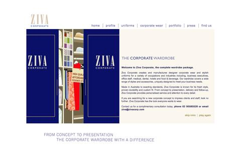 Screenshot of Home Page zivacorp.com - Sydney Corporate Uniform | Wardrobe | Hotels, Restaurants & Hospitality - captured Oct. 7, 2014