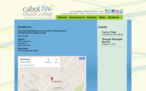 Screenshot of Contact Page cabotchurch.com - Contact Us - Cabot Church of Christ - captured Oct. 1, 2014