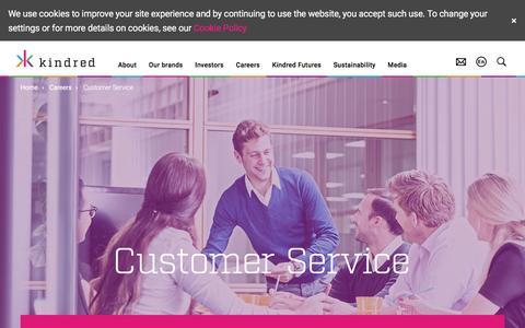 Screenshot of Support Page kindredplc.com - Kindred plc  - Customer Service - captured Feb. 28, 2017
