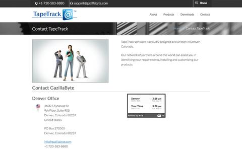 Screenshot of Contact Page tapetrack.com - TapeTrack   Contact - captured May 10, 2016