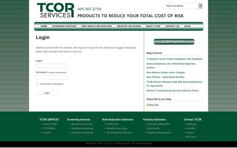 Screenshot of Login Page tcorservices.com - TCOR Services - Login - captured Oct. 19, 2018