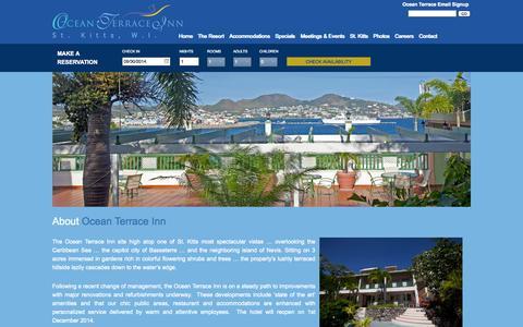 Screenshot of About Page oceanterraceinn.com - St. Kitts Hotel   St. Kitts Inn   St. Kitts Resort   Ocean Terrace Inn - captured Sept. 30, 2014