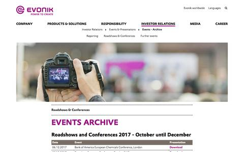 Roadshows & Conferences - Evonik Industries AG