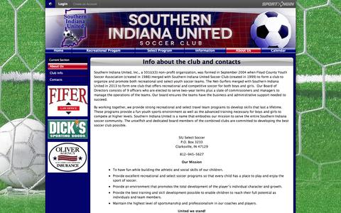 Screenshot of About Page siusoccer.com - Info about the club and contacts - captured June 13, 2016