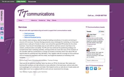 Screenshot of Services Page ttcommunications.co.uk - Services | TT Communications - captured Oct. 7, 2014