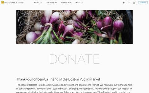 Screenshot of Support Page bostonpublicmarket.org - Boston Public Market | Donate - captured July 27, 2017