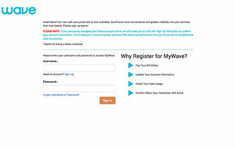 Screenshot of Login Page wavebroadband.com - MyWave | Login | Index - captured Dec. 2, 2019