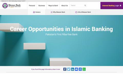 Screenshot of Jobs Page meezanbank.com - Careers   Meezan Bank - captured Oct. 18, 2017
