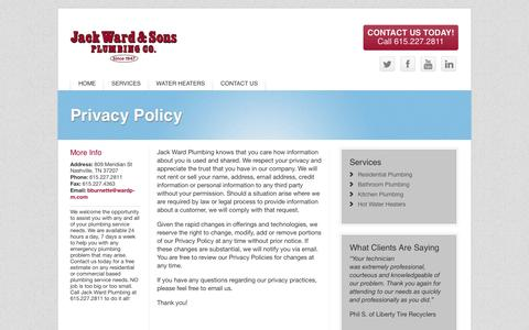 Screenshot of Privacy Page wardp-m.com - Privacy Policy | Ward Plumbing - captured Oct. 6, 2014