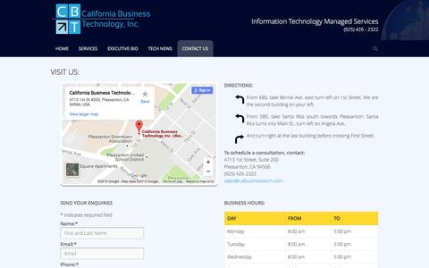 Screenshot of Contact Page calbusinesstech.com - Contact Us - Califonia Business Technology, Inc - captured Oct. 16, 2016