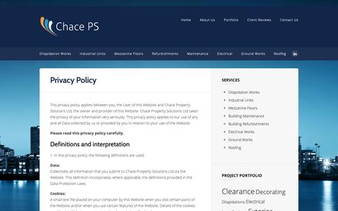 Screenshot of Privacy Page chacepsl.com - Privacy Policy | Chace Property Solutions - captured Sept. 27, 2018