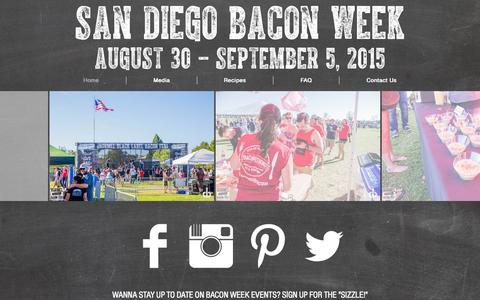 Screenshot of Home Page sdbaconfest.com - San Diego Bacon Fest - San Diego, California - captured Oct. 4, 2014