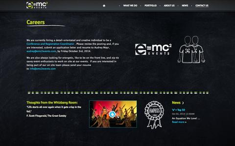 Screenshot of Jobs Page emc2events.com - Contact Us - Careers - e=mc² events - captured Oct. 3, 2014