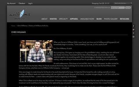 Screenshot of About Page williamsknife.com - Chris Williams   History of Williams Knife Co. - captured Oct. 9, 2014