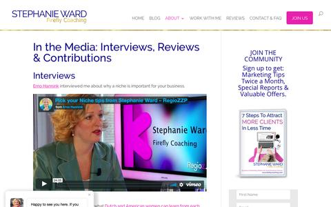 Screenshot of Press Page fireflycoaching.com - Stephanie Ward in the Media Interviews Reviews Marketing Coach for Entrepreneurs - captured Nov. 6, 2018