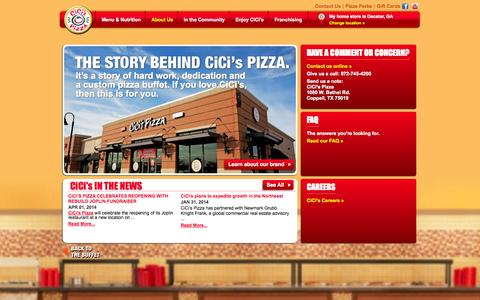 Screenshot of About Page cicispizza.com - About CiCis family pizza restaurant get the info you need - captured Oct. 10, 2014
