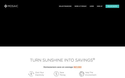 Screenshot of Home Page joinmosaic.com - Home Solar Panel Loans | Affordable Financing | Mosaic - captured Aug. 6, 2016