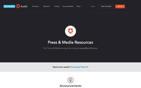 Screenshot of Press Page auth0.com - Press & Media Resources - Auth0 - captured Dec. 24, 2016