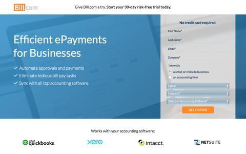 Screenshot of Landing Page bill.com - Cut Time Spent on Bill Pay in Half - Bill.com + Intuit QuickBooks - captured Sept. 8, 2017