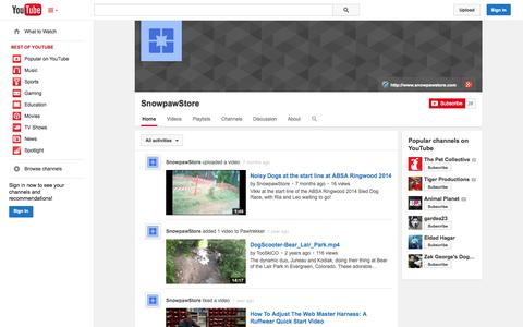 Screenshot of YouTube Page youtube.com - SnowpawStore  - YouTube - captured Oct. 25, 2014
