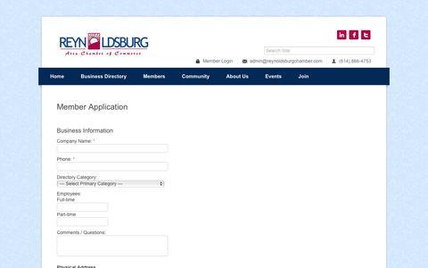 Screenshot of Signup Page reynoldsburgchamber.com - Member - Reynoldsburg Chamber of Commerce,OH - captured Dec. 29, 2016