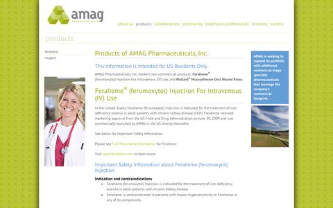 Screenshot of Products Page amagpharma.com - Products | AMAG Pharmaceuticals - captured Oct. 4, 2014