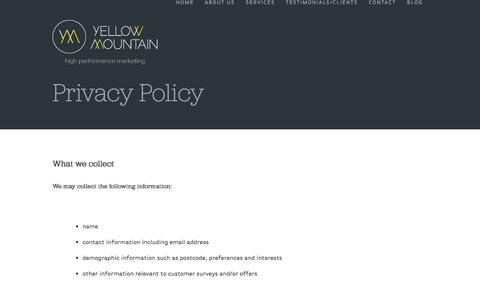 Screenshot of Privacy Page yellowmountainmarketing.com - Privacy Policy | Yellow Mountain Marketing - captured Oct. 27, 2014