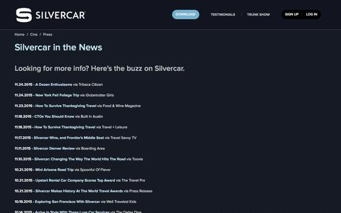 Screenshot of Press Page silvercar.com - Car Rental in Austin, Chicago, Dallas/Ft. Worth, Denver, Ft. Lauderdale, Los Angeles, Miami, Phoenix, San Francisco, New York City, and Las Vegas - Rent an Audi A4 at AUS, DAL, DEN, DFW, FLL, LAX, MIA, NYC, ORD, PHX, SFO, or LAS - captured Dec. 7, 2015