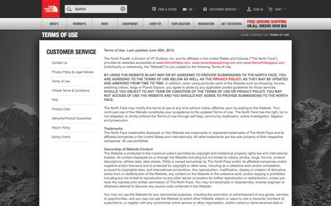 Screenshot of Terms Page thenorthface.com - Terms Of Use - captured Sept. 18, 2014