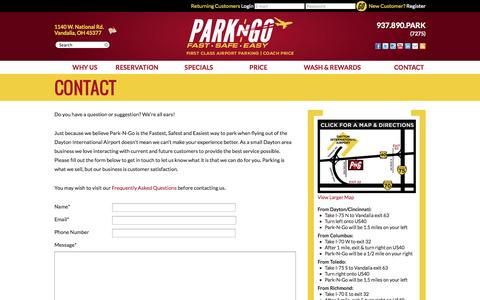 Screenshot of Contact Page daytonparking.com - Contact - Park-N-Go Dayton Airport Parking - captured Oct. 5, 2014