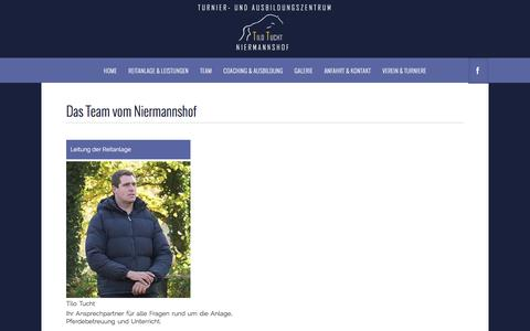 Screenshot of Team Page niermannshof.de - Das Team vom Niermannshof, Turnier- und Ausbildungszentrum Tilo Tucht - Erkrath-Unterfeldhaus - Sportpferde, Springreiten, Pensionsbetrieb - captured June 8, 2016