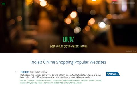 Screenshot of Home Page ehubz.in - India's Online Shopping Websites | ehubz.in - captured Sept. 25, 2014