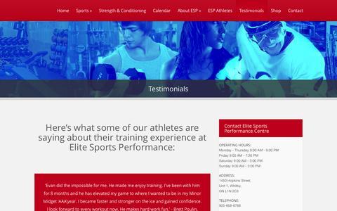 Screenshot of Testimonials Page espcentre.com - Testimonials - Elite Sports Performance Centre - captured Sept. 19, 2014