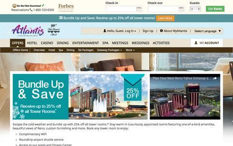Screenshot of atlantiscasino.com - Reno Hotel Deals | Bundle Up & Save | Atlantis Room Special - captured Feb. 5, 2017