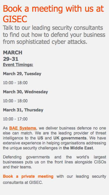 GISEC: Book a meeting with BAE Systems