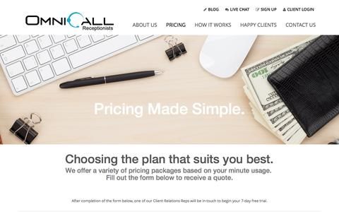 Screenshot of Pricing Page omnicall.com - OmniCall Receptionists PRICING - OmniCall Receptionists - captured Feb. 25, 2016