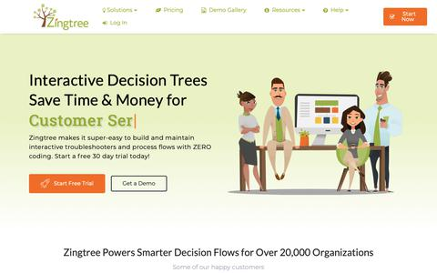 Screenshot of Home Page zingtree.com - Create Interactive Decision Trees with Zingtree - captured Dec. 3, 2018