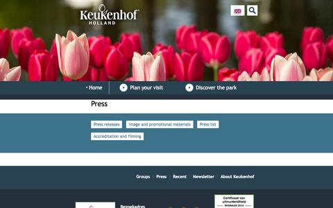 Screenshot of Press Page keukenhof.nl - Press - Keukenhof - captured Sept. 25, 2014